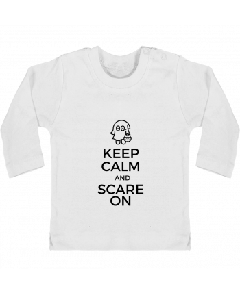 T-shirt Bébé Manches Longues Boutons Pression Keep Calm and Scare on little Ghost manches longues du designer tunetoo