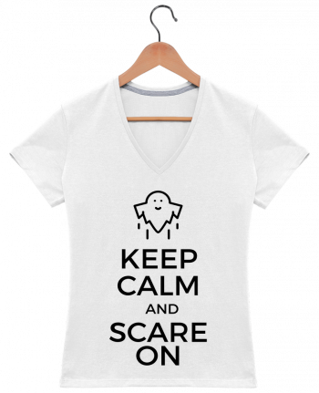 T-shirt Col V Femme 180 gr Keep Calm and Scare on Ghost par tunetoo