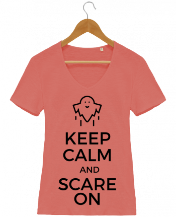 T-shirt Femme Col V Stella Chooses Keep Calm and Scare on Ghost par tunetoo