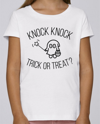 T-shirt Fille Mini Stella Draws Knock Knock, Trick or Treat? par tunetoo