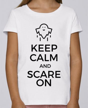 T-shirt Fille Mini Stella Draws Keep Calm and Scare on Ghost par tunetoo