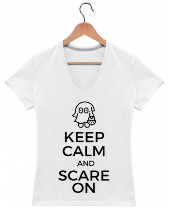 T-shirt Col V Femme 180 gr Keep Calm and Scare on little Ghost par tunetoo