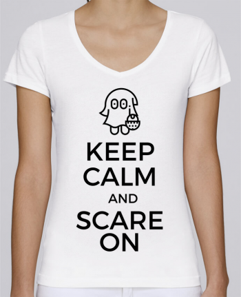 T-shirt Femme Col V Stella Chooses Keep Calm and Scare on little Ghost par tunetoo