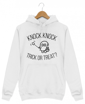 Sweat Shirt à Capuche Homme Knock Knock, Trick or Treat? par tunetoo