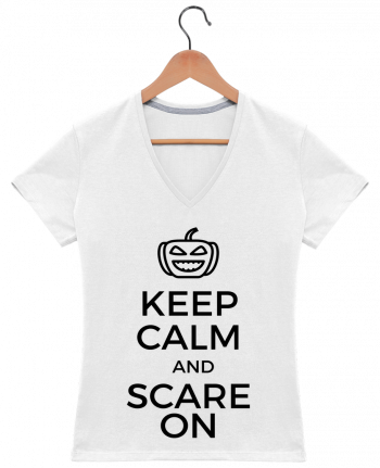 T-shirt Col V Femme 180 gr Keep Calm and Scare on Pumpkin par tunetoo