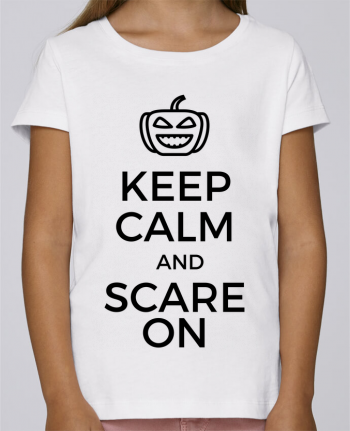 T-shirt Fille Mini Stella Draws Keep Calm and Scare on Pumpkin par tunetoo