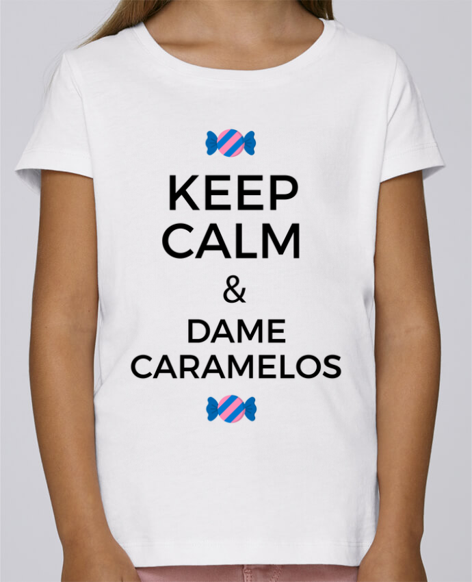 T-shirt Fille Mini Stella Draws Keep Calm and Dame Caramelos par tunetoo