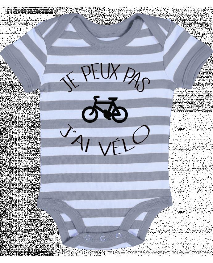 Body Bébé à Rayures Je peux pas j'ai vélo - Freeyourshirt.com