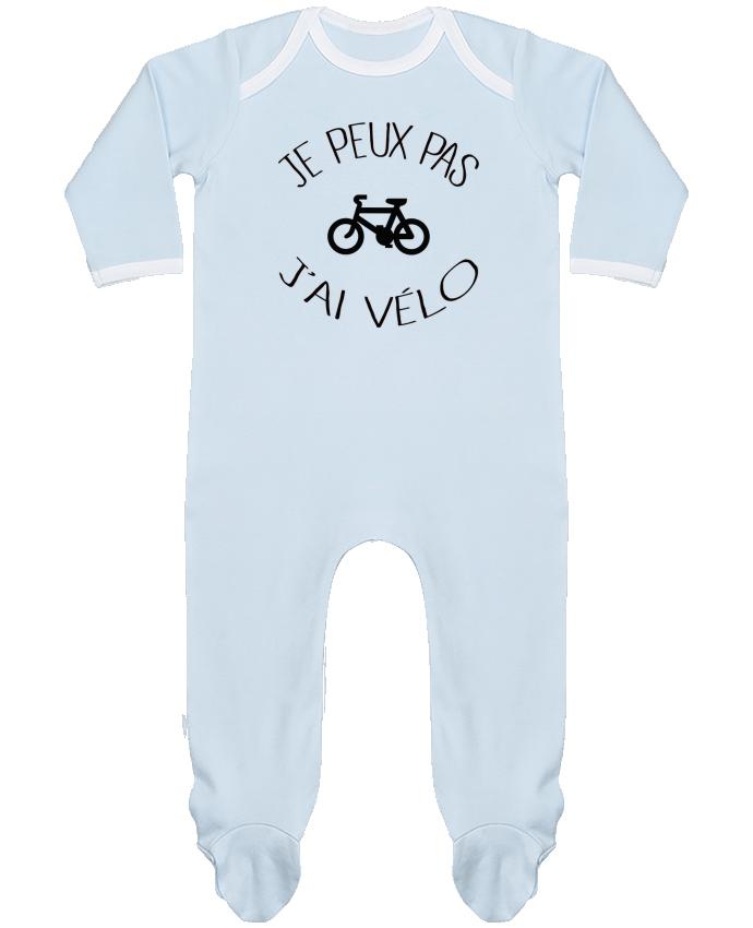 Pyjama Bébé Manches Longues Contrasté Je peux pas j'ai vélo par Freeyourshirt.com