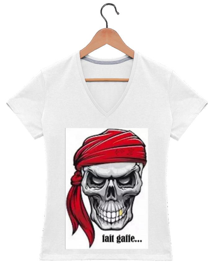 fournisseur officiel date de sortie: fréquent T-shirt Col V Femme 180 gr tete de mort avec bandeau par Jimindy