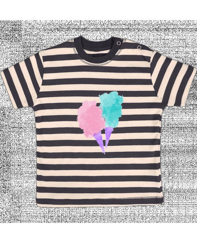 T-shirt Bébé à Rayures Watercolor Cotton Candy par PinkGlitter