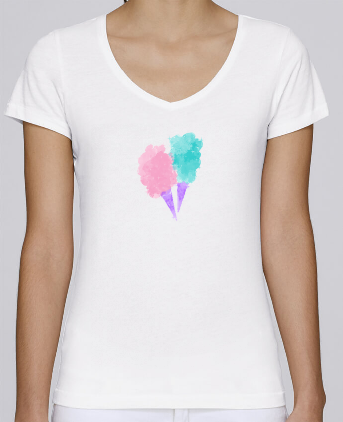 T-shirt Femme Col V Stella Chooses Watercolor Cotton Candy par PinkGlitter