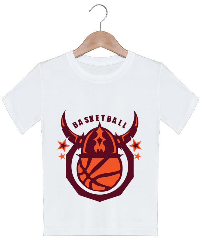 T-shirt garçon motif basketball casque viking logo sport club Achille