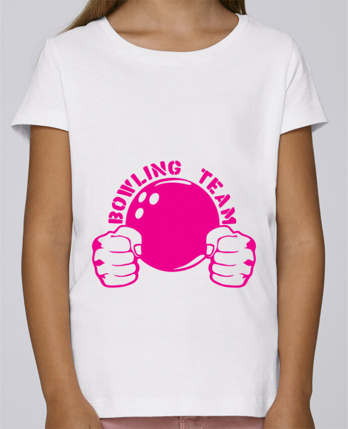 T-shirt Fille Mini Stella Draws bowling team poing fermer logo club par Achille