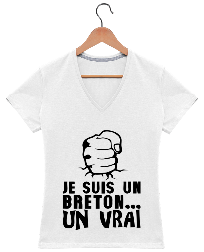 T-shirt Col V Femme 180 gr breton vrai veritable citation humour par Achille