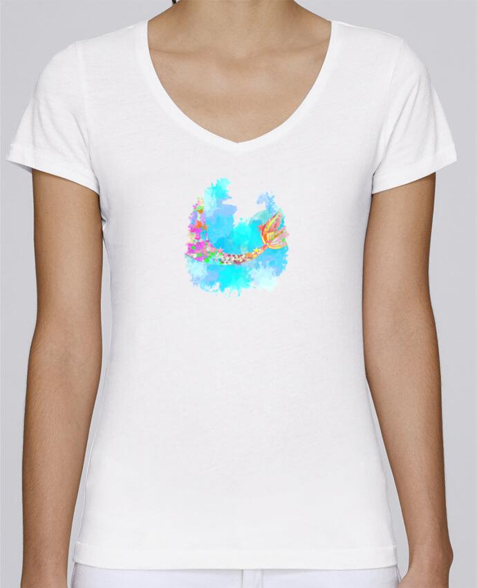 T-shirt Femme Col V Stella Chooses Watercolor Mermaid par PinkGlitter