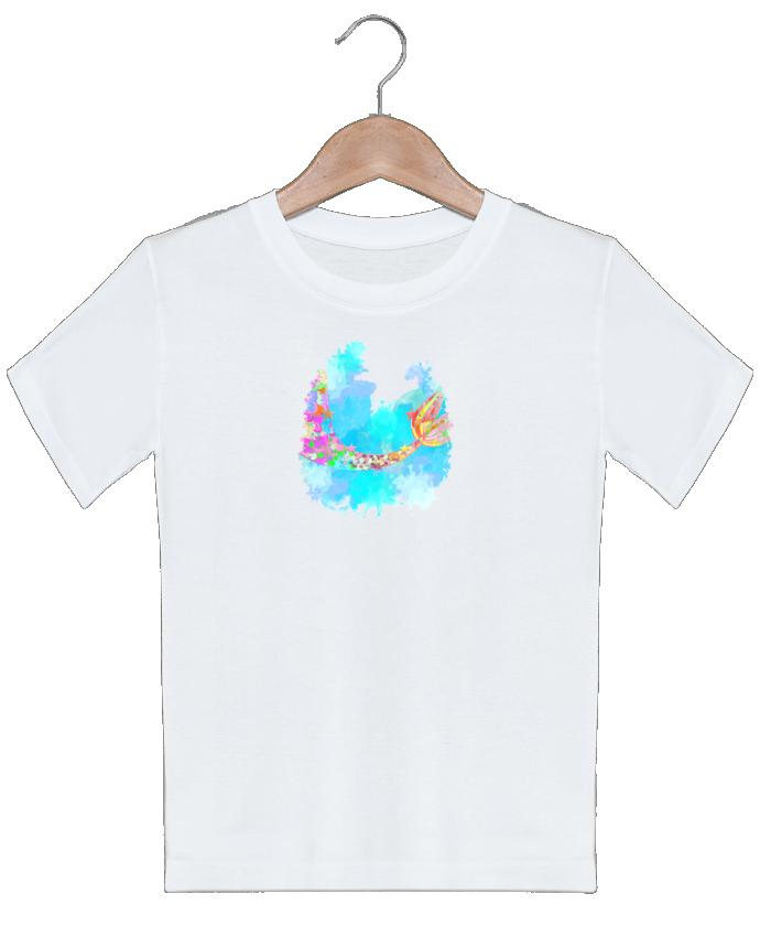 T-shirt garçon motif Watercolor Mermaid PinkGlitter