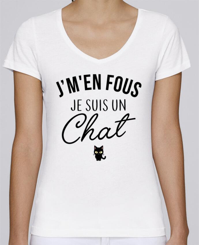T-shirt Femme Col V Stella Chooses J'm'en fous je suis un chat par LPMDL