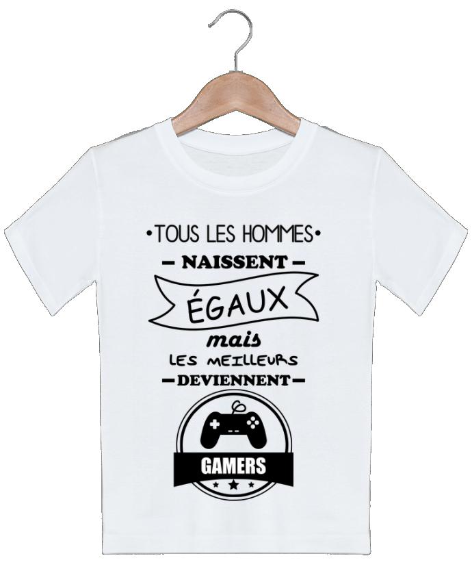 T-shirt garçon motif Tous les hommes naissent égaux mais les meilleurs deviennent gamers, joueurs, j
