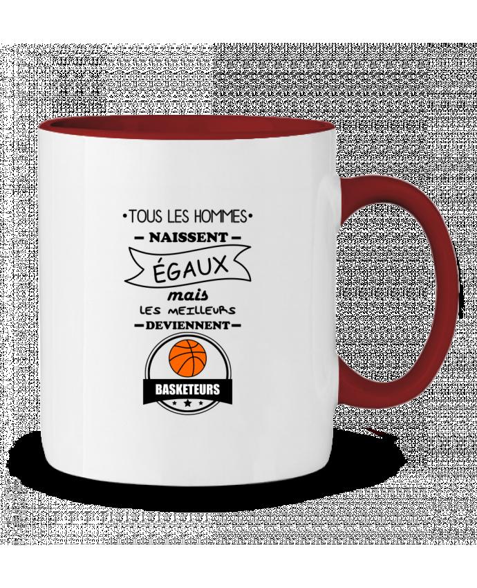 Mug en Céramique Bicolore Tous les hommes naissent égaux mais les meilleurs deviennent basketteurs, basket, baske
