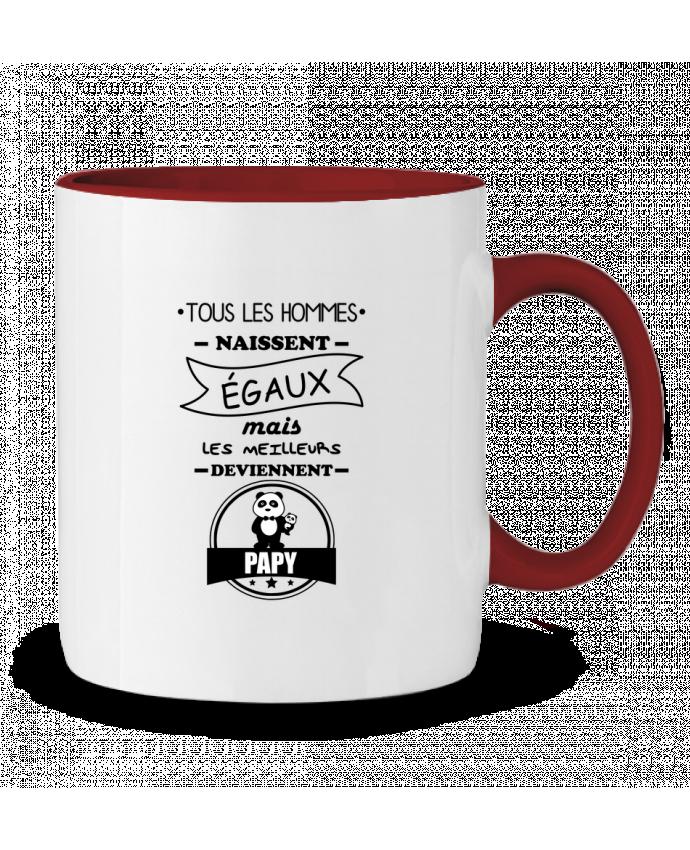 Mug en Céramique Bicolore Tous les hommes naissent égaux mais les meilleurs deviennent papy, papi, papis, papys B