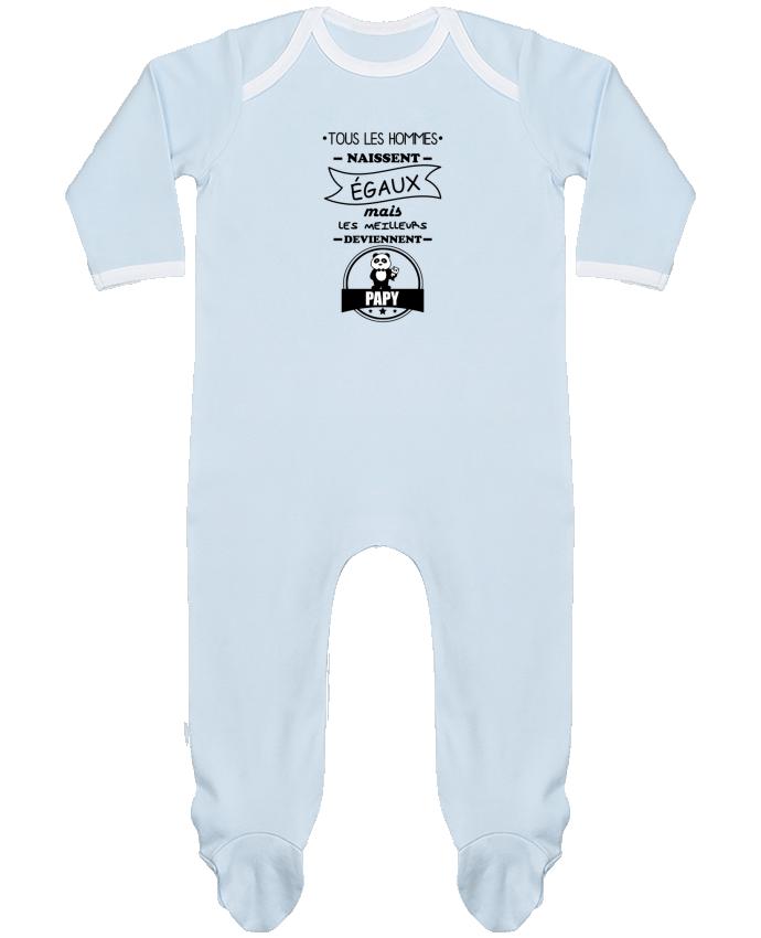 Pyjama Bébé Manches Longues Contrasté Tous les hommes naissent égaux mais les meilleurs deviennent papy, papi, papis, pap