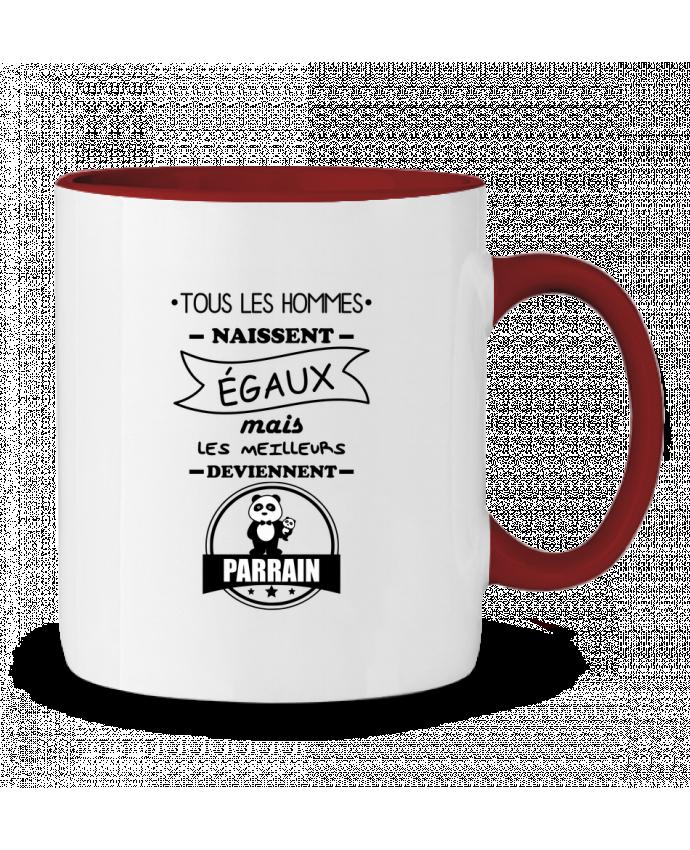 Mug en Céramique Bicolore Tous les hommes naissent égaux mais les meilleurs deviennent parrain, parrains Benichan