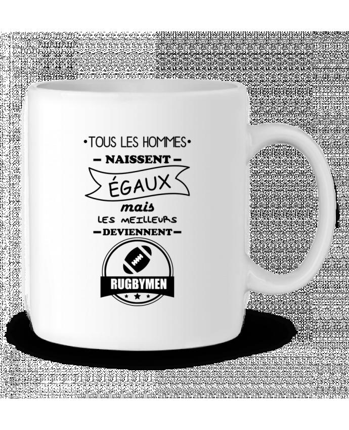 Mug en Céramique Tous les hommes naissent égaux mais les meilleurs deviennent rugbymen, rugbyman, rugby par Beni