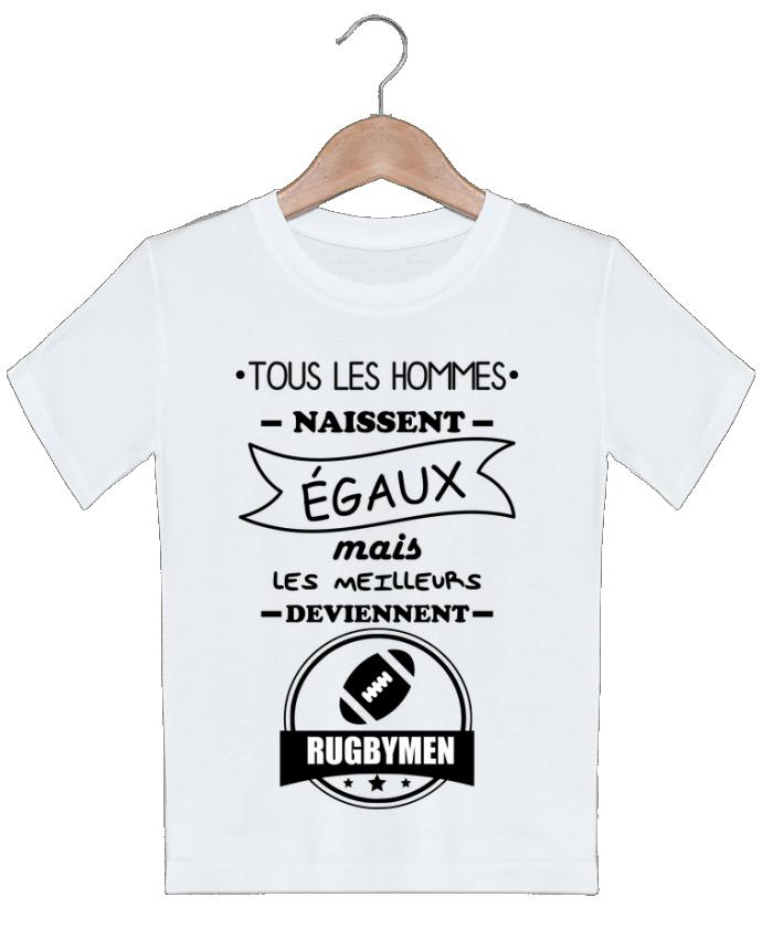 T-shirt garçon motif Tous les hommes naissent égaux mais les meilleurs deviennent rugbymen, rugbyman