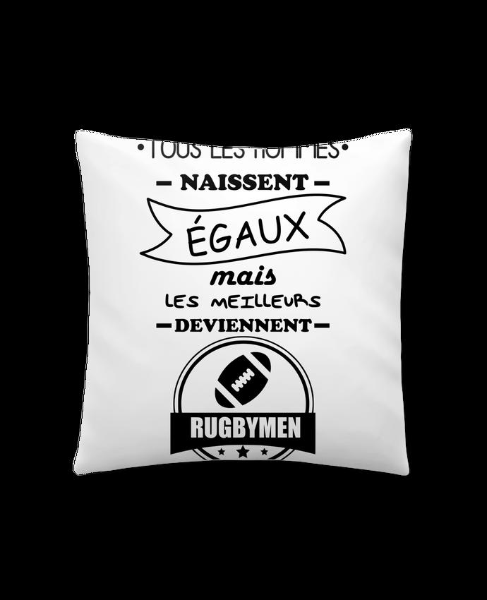 Coussin Synthétique Doux 41 x 41 cm Tous les hommes naissent égaux mais les meilleurs deviennent rugbymen, rugbyman, rugby par B