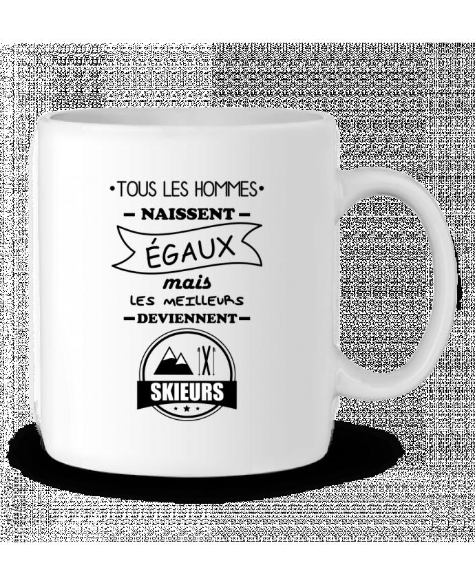 Mug en Céramique Tous les hommes naissent égaux mais les meilleurs deviennent skieurs, skieur, ski par Benichan