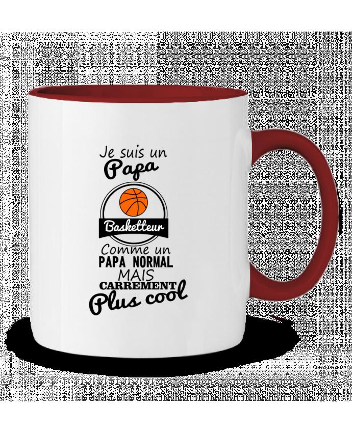 Mug en Céramique Bicolore Je suis un papa basketteur comme un papa normal mais carrément plus cool Benichan