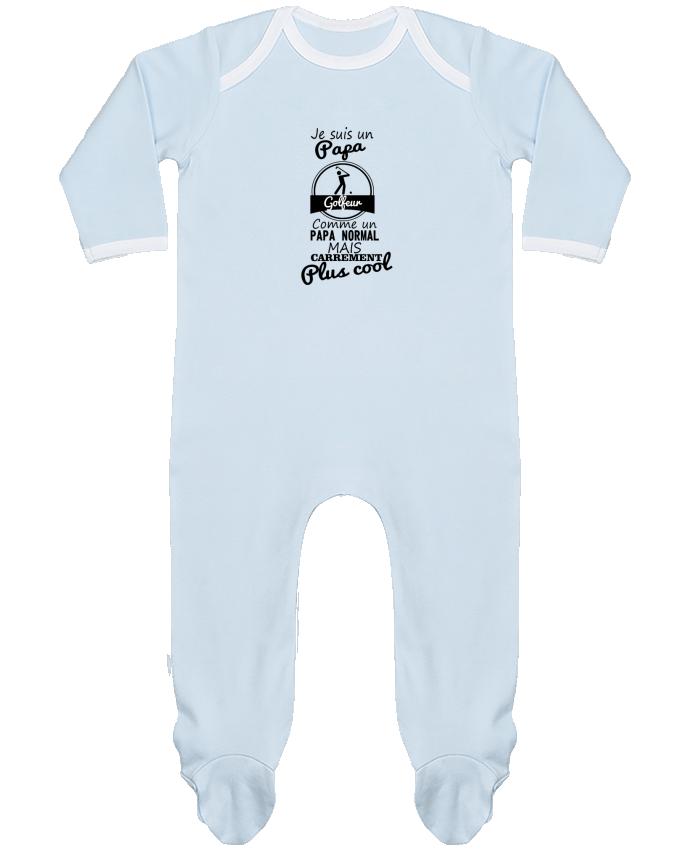 Pyjama Bébé Manches Longues Contrasté Je suis un papa golfeur comme un papa normal mais carrément plus cool par Benichan