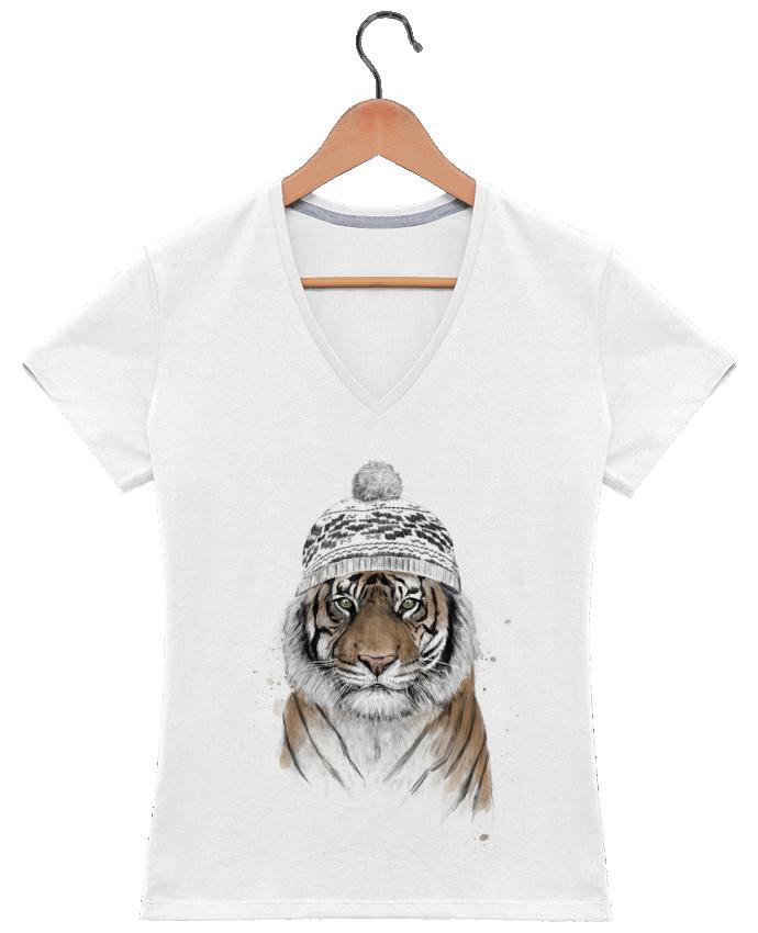 T-shirt Col V Femme 180 gr Siberian tiger par Balàzs Solti