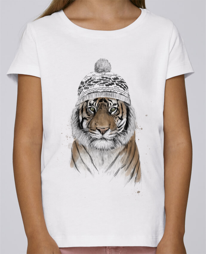 T-shirt Fille Mini Stella Draws Siberian tiger par Balàzs Solti