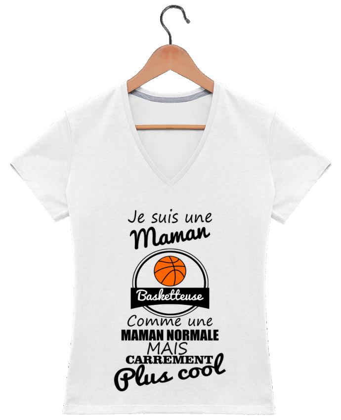 T-shirt Col V Femme 180 gr Je suis une maman basketteuse comme une maman normale mais carrément plus cool p