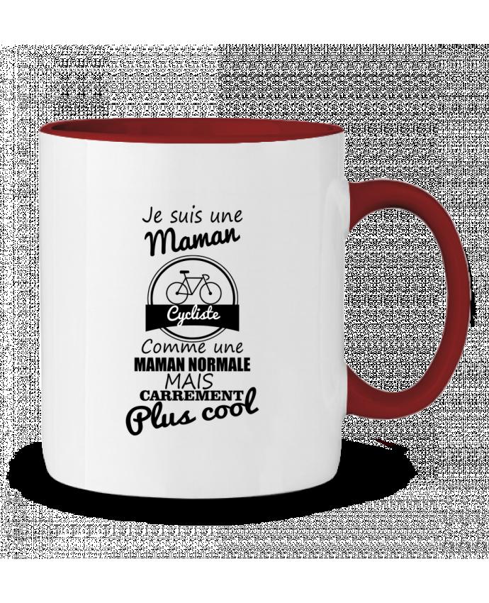 Mug en Céramique Bicolore Je suis une maman cycliste comme une maman normale mais carrément plus cool Benichan