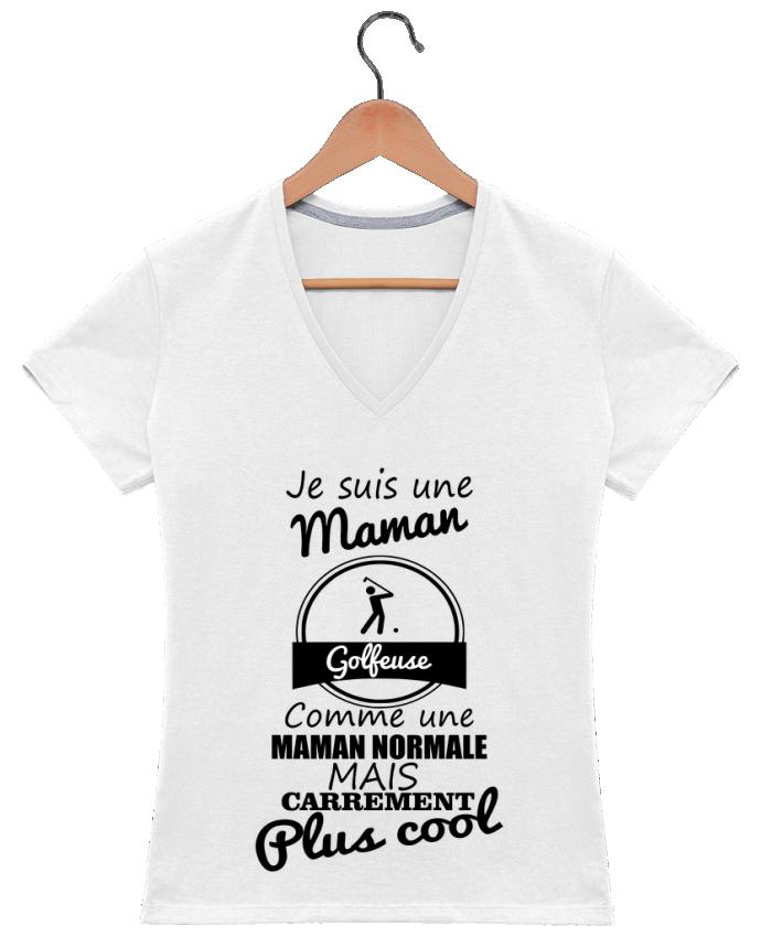 T-shirt Col V Femme 180 gr Je suis une maman golfeuse comme une maman normale mais carrément plus cool par