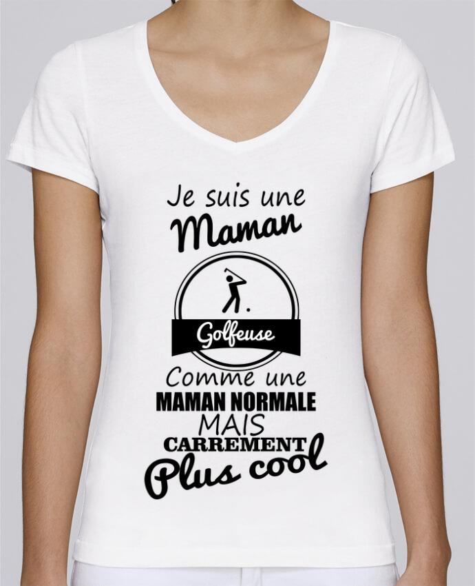 T-shirt Femme Col V Stella Chooses Je suis une maman golfeuse comme une maman normale mais carrément