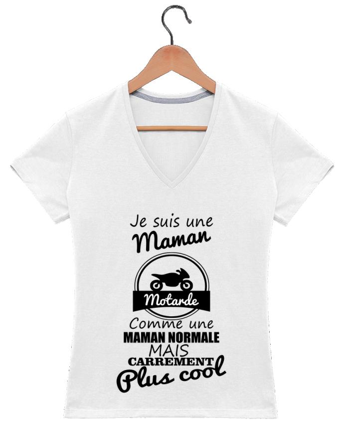 T-shirt Col V Femme 180 gr Je suis une maman motarde comme une maman normale mais carrément plus cool par B