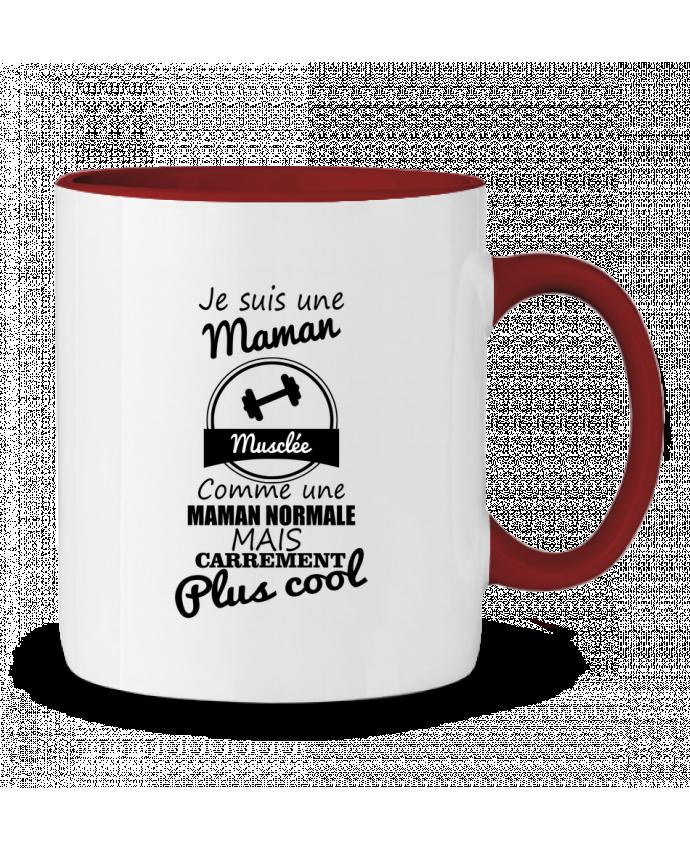 Mug en Céramique Bicolore Je suis une maman musclée comme une maman normale mais carrément plus cool Benichan