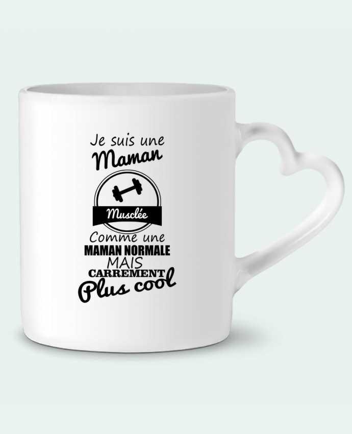 Mug Coeur Je suis une maman musclée comme une maman normale mais carrément plus cool par Benichan