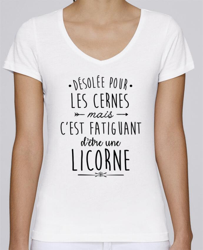 T-shirt Femme Col V Stella Chooses Fatiguant d'être une licorne par LPMDL