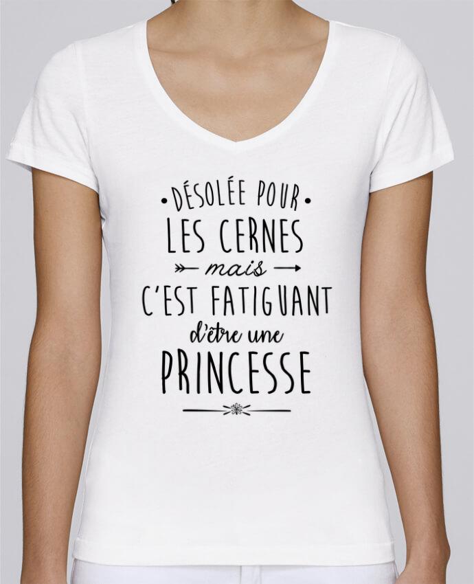 T-shirt Femme Col V Stella Chooses C'est fatiguant d'être une princesse par LPMDL