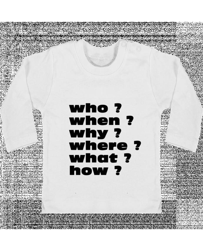 T-shirt Bébé Manches Longues Boutons Pression Questions manches longues du designer Les Caprices de Filles