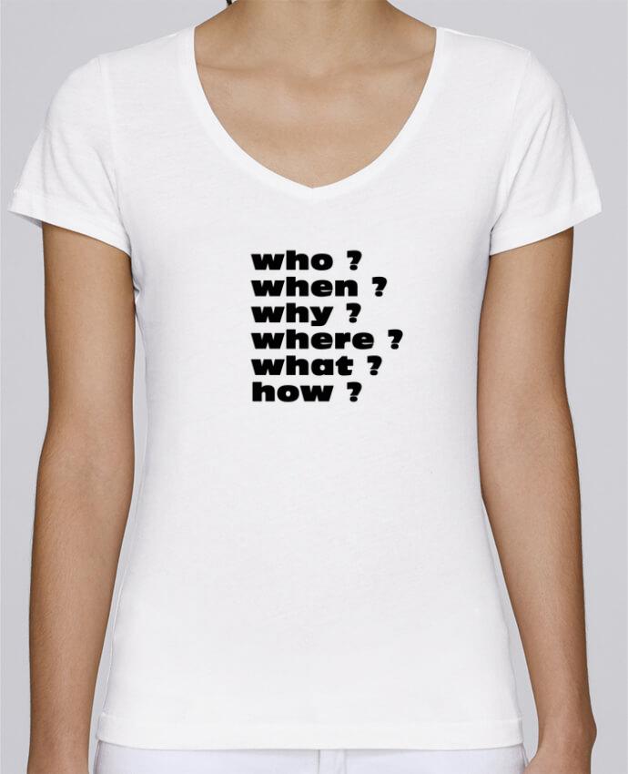 T-shirt Femme Col V Stella Chooses Questions par Les Caprices de Filles
