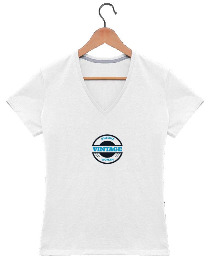 T-shirt Col V Femme 180 gr Unique vintage woman par Les Caprices de Filles