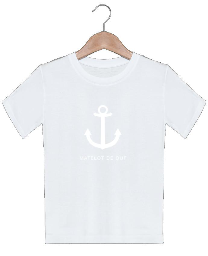 T-shirt garçon motif une ancre marine blanche : MATELOT DE OUF ! LF Design