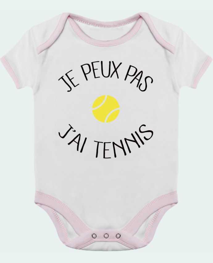 Body bébé manches contrastées Je peux pas j'ai Tennis par Freeyourshirt.com