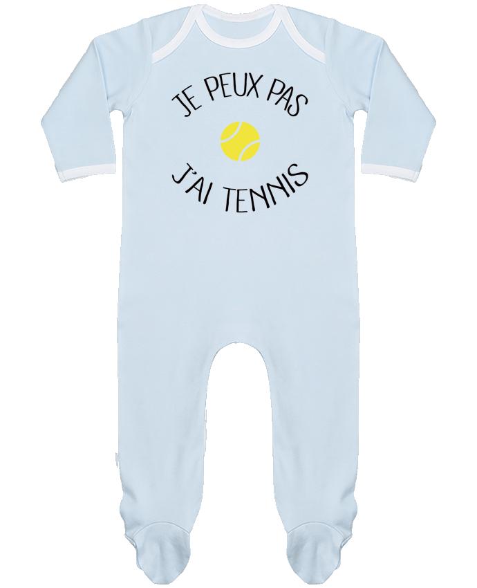 Pyjama Bébé Manches Longues Contrasté Je peux pas j'ai Tennis par Freeyourshirt.com
